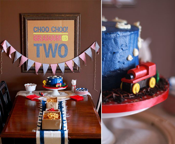 train birthday cake and table